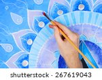 abstract blue painted picture... | Shutterstock . vector #267619043
