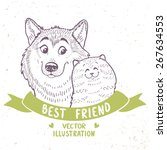 Stock vector stylish silhouettes cartoon cute dog husky and cat vector illustration 267634553