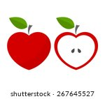 Red Heart Shaped Apples. Vecto...