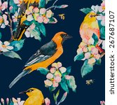 spring pattern. flowering... | Shutterstock .eps vector #267687107