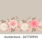 seamless floral border. vintage ...   Shutterstock .eps vector #267720953