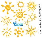vector set of different suns... | Shutterstock .eps vector #267738593