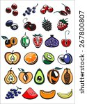 fruits and berry icons in color ... | Shutterstock .eps vector #267800807