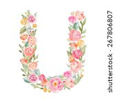 floral watercolor monogram... | Shutterstock . vector #267806807