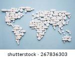 pills in world map shape | Shutterstock . vector #267836303