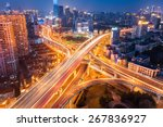 city interchange at night  ... | Shutterstock . vector #267836927