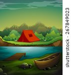 camp out by the river with... | Shutterstock .eps vector #267849023