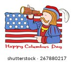 columbus day man with flag and... | Shutterstock .eps vector #267880217