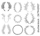 collection of handdrawn laurels ... | Shutterstock .eps vector #267943907