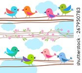 spring background with birds on ... | Shutterstock .eps vector #267950783