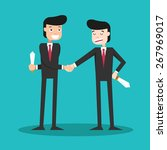 two faced guys shaking hands in ... | Shutterstock .eps vector #267969017