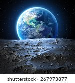 Blue Earth View From Moon...