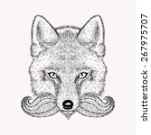 sketch fox with a beard and... | Shutterstock . vector #267975707