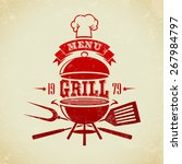 vintage bbq grill party | Shutterstock .eps vector #267984797