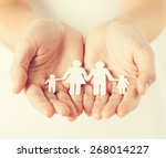 close up of womans cupped hands ... | Shutterstock . vector #268014227