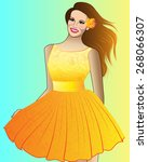 vector girl in a yellow dress | Shutterstock .eps vector #268066307