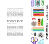 school supplies on white... | Shutterstock . vector #268117133
