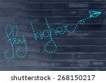the words fly higher made by... | Shutterstock . vector #268150217