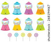 gumball machine and lollipop... | Shutterstock .eps vector #268194467
