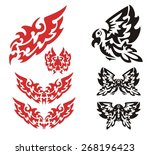 tribal flaming eagle set. the... | Shutterstock .eps vector #268196423