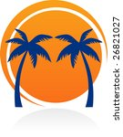 icon with sun and palm trees | Shutterstock .eps vector #26821027