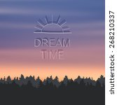 sunset landscape  inscription ... | Shutterstock .eps vector #268210337