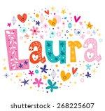 laura girls name decorative... | Shutterstock .eps vector #268225607