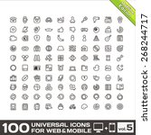 100 universal line icons for... | Shutterstock . vector #268244717