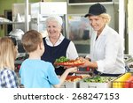pupils in school cafeteria... | Shutterstock . vector #268247153