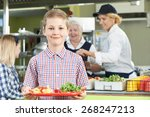 male pupil with healthy lunch...   Shutterstock . vector #268247213
