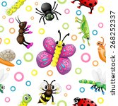 cute cartoon insects pattern | Shutterstock .eps vector #268252337