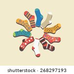 vector colored socks in a... | Shutterstock .eps vector #268297193