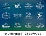 set of vector fitness aerobics... | Shutterstock .eps vector #268299713