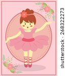 cute ballerina girl with dress... | Shutterstock .eps vector #268322273