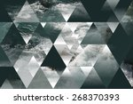 Small photo of abstract sea geometric background with triangles, water waves