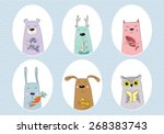 Set With Cute Draw Animals....