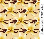 vanilla flower vector seamless... | Shutterstock .eps vector #268417373
