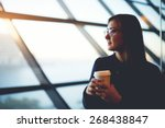portrait of beautiful cute girl ... | Shutterstock . vector #268438847
