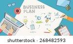 flat banner of bussiness plan...   Shutterstock .eps vector #268482593