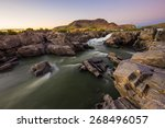 river to waterfall at sunset ... | Shutterstock . vector #268496057