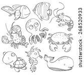 cutie marine animals | Shutterstock .eps vector #268520933
