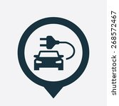 electro car icon map pin on... | Shutterstock . vector #268572467