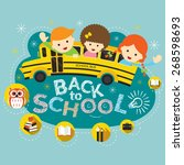 school bus with student and... | Shutterstock .eps vector #268598693