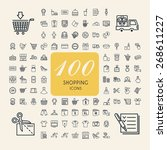 elegant 100 shopping icons set... | Shutterstock .eps vector #268611227