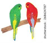 parrots. vector illustration... | Shutterstock .eps vector #268624787