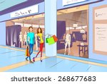 couple shopping man and woman... | Shutterstock .eps vector #268677683