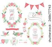 wedding rose wreath elements   Shutterstock .eps vector #268677743