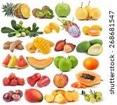 set of fruit isolated on white... | Shutterstock . vector #268681547