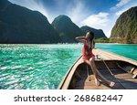 women travelers passenger boat... | Shutterstock . vector #268682447
