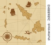 seamless old map with a compass ... | Shutterstock .eps vector #268688843